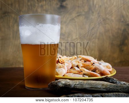 Glass Of Beer With Dried Fish And Shrimp