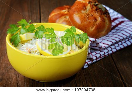 Plate With Salad And Bread Rolls At The Village Table