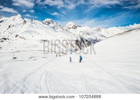 Speed Skiing In Scenic Alpine Resort