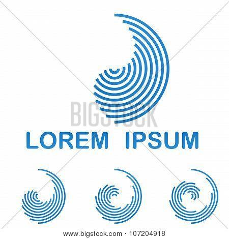 Blue telecommunication logo design template icon set
