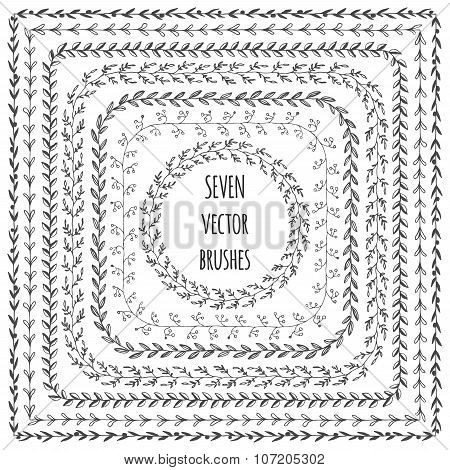 Hand Drawn Vector Line Border Set And Scribble Design Element