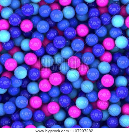 Colorful blue and pink glossy balls background.