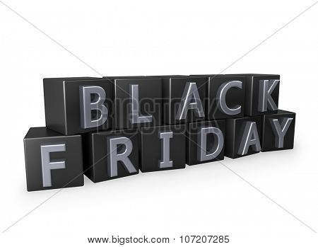 Black Friday cubes with chrome letters isolated on white background.