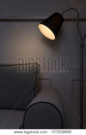 Modern floor lamp in room
