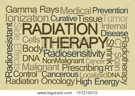 Radiation Therapy Word Cloud on Light Brown Background