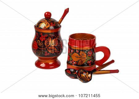 russian painted sugar bowl cup and spoons