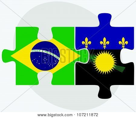 Brazil And Guadeloupe Flags