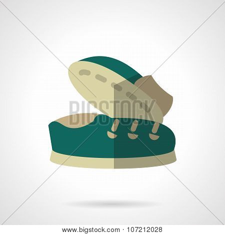 Flat color vector icons for footwear