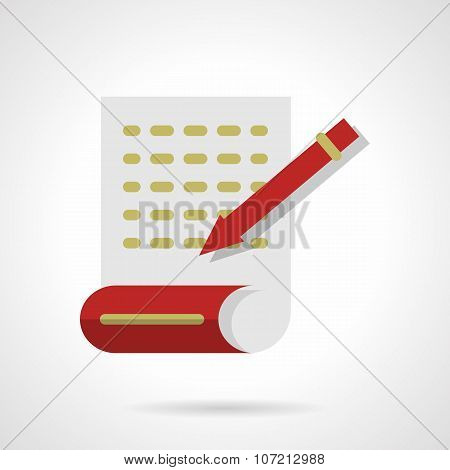 Writing articles abstract flat color vector icon