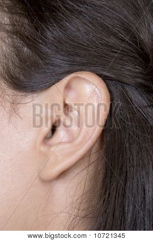 Closeup Of Young Caucasian Woman Ear