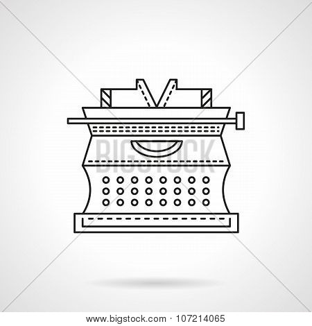 Flat line typewriter vector icon