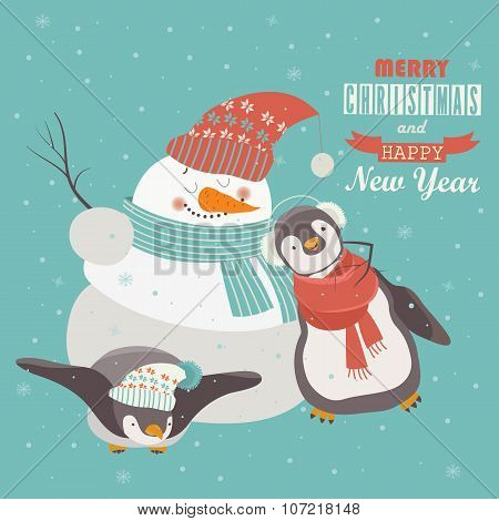Funny penguins with snowman celebrating Christmas