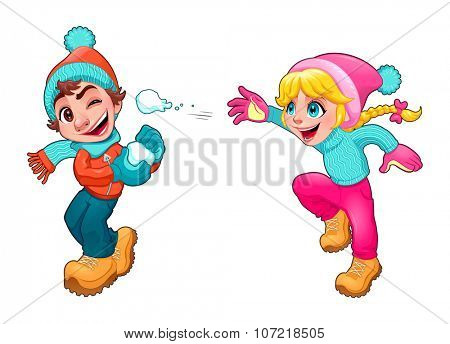 Children are playing with snow. Vector cartoon isolated characters.