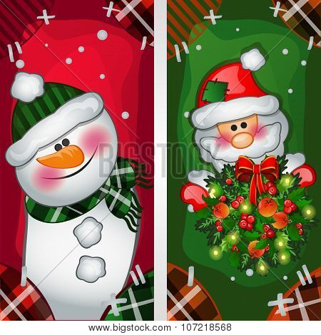 Snowman and Santa Claus image on the fabric, two vertical cards