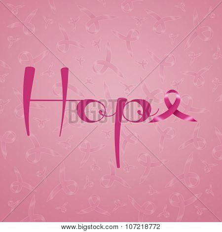 Hope With Pink Awareness Ribbon