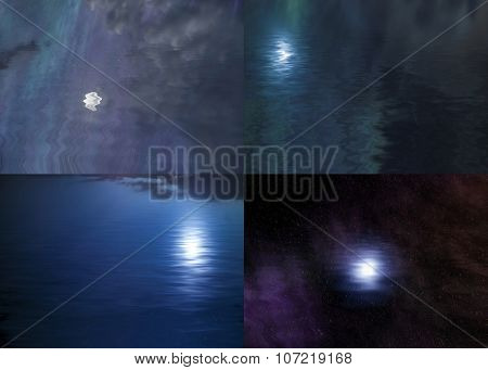 four natural landscapes with night sky and moon reflected in water