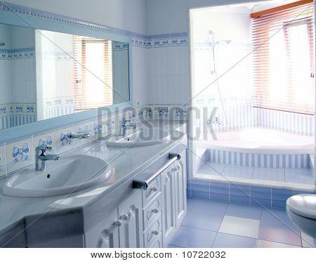 Classic Blue Bathroom Interior Tiles Decoration
