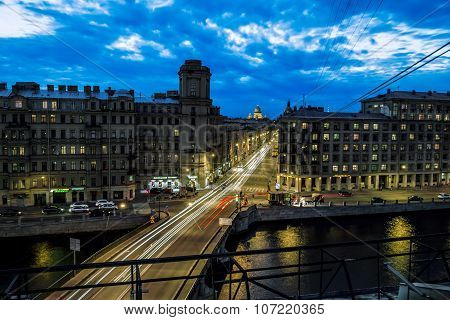 Izmailovskiy Avenue And The Bridge Across The Fontanka River In St. Petersburg. Russia