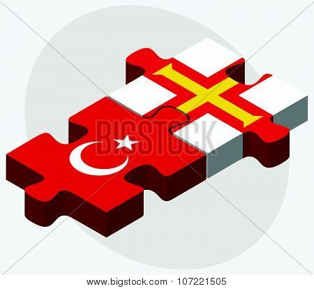 Turkey And Guernsey Flags