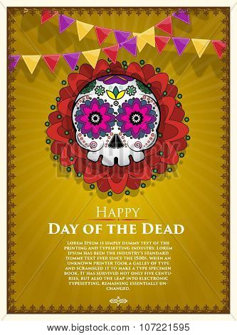 Day Of The Dead Skull Vector poster background. Dia de los muertos