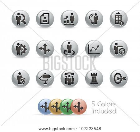 Business Strategies Icons // Metal Round Series -- The vector file includes 5 color versions for each icon in different layers.