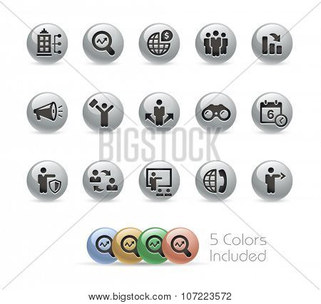 Business Opportunities // Metal Round Series -- The vector file includes 5 color versions for each icon in different layers.