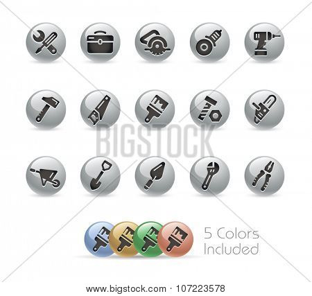 Tools Icons // Metal Round Series -- The vector file includes 5 color versions for each icon in different layers.