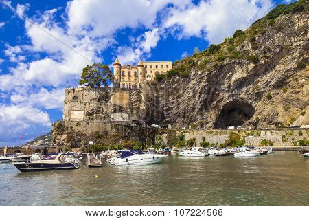 scenic Amalfi coast - Maiori, view with castle. Italy
