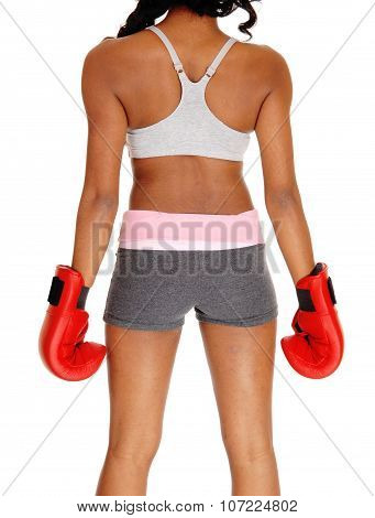 Athletic Woman Wearing Boxing Gloves.