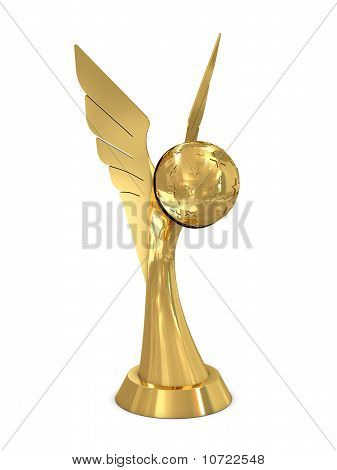 Golden award trophy with wings