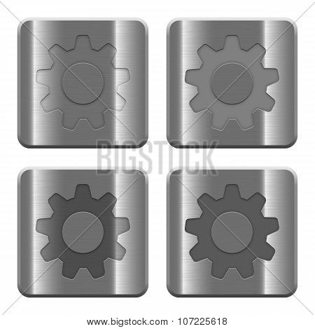 Metal Settings Buttons