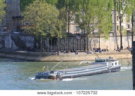 Barge on the Seine River.