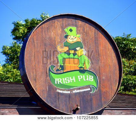 Vilamoura Algarve Portugal - October 26 2015: Irish pub sign
