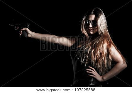 Military Woman With A Gun
