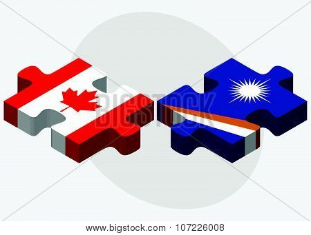 Canada And Marshall Islands Flags
