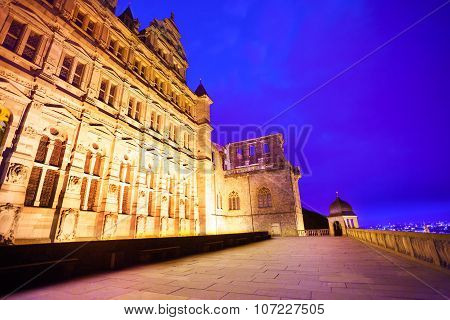 Beautiful facade of Heidelberg castle during night