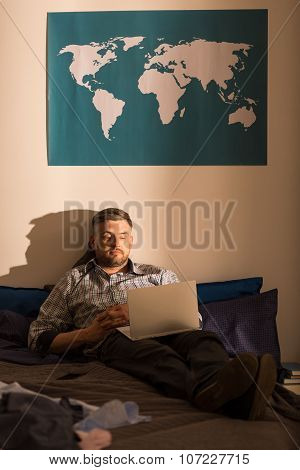 Lonely Male Using Laptop