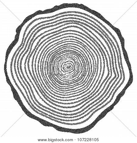 Dotwork Halftone Vector Tree Rings