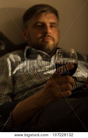 Bored Lonely Guy With Wine