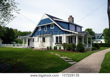 Blue and White Home