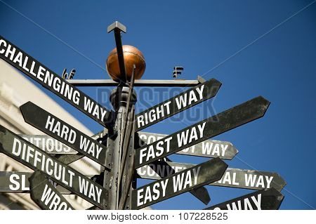 Directional Sign Post With Mixed Messages, Correct, Difficult, Slow, Challenging, Hard, Wrong