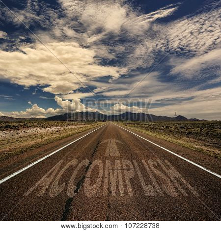 Conceptual Image Of Road With The Word Accomplish