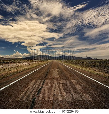 Conceptual Image Of Road With The Word Miracle