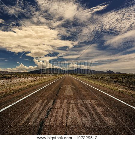Conceptual Image Of Road With The Word Namaste