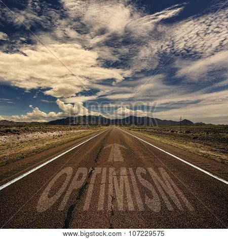 Conceptual Image Of Road With The Word Optimism