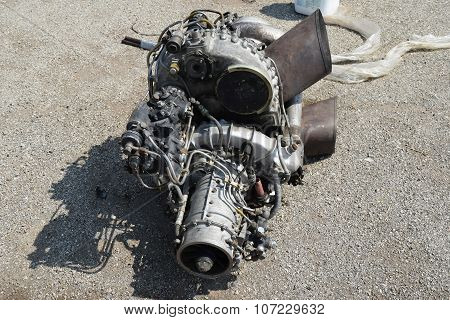 The Helicopter Engine Which Is Pulled Out Outside