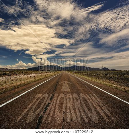 Conceptual Image Of Road With The Word Tomorrow
