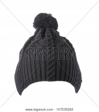 Knitted Hat With Pompom Gray