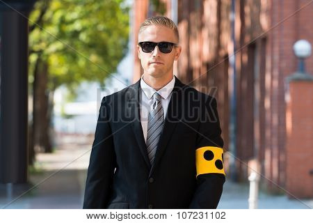 Blind Person Wearing Armband