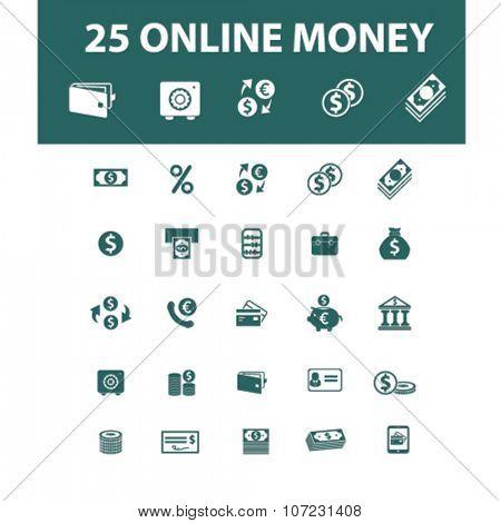 online money, cash icons, signs vector concept set for infographics, mobile, website, application